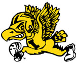 Old School Flying Football Herky Color, University of Iowa vinyl decal