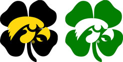 Tigerhawk Logo over Clover, St. Patricks Day Vinyl Decal