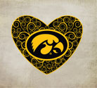 Iowa Tigerhawk Heart, Vinyl Decal