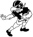 University of Iowa Vintage Herky Football, Black and White decal