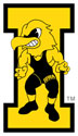 University of Iowa Vintage Herky Wrestling Color, Vinyl Decal