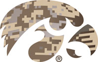 University of Iowa Tigerhawk Logo - Camo Vinyl Decal
